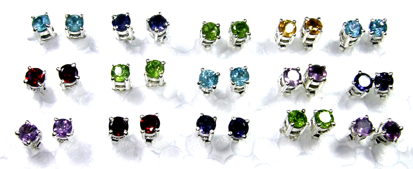 Lettest Small Size Cut Multi Stone Earrings Lot-SS6YE026