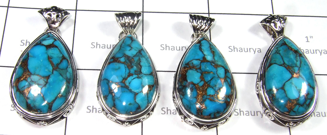Blue Copper Turquoise Pendants -SS6YP001