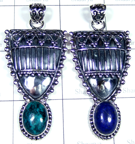 Beautiful Crysocola, lapis Pendants-SS6YP006