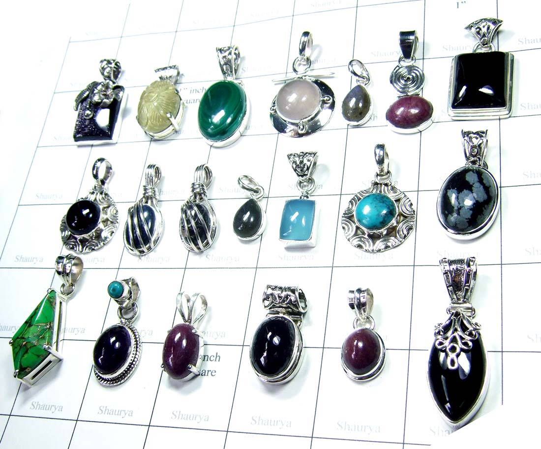 Cab multi Gemstone Pendants-SS6YP010