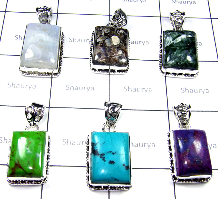 Multi Cab Stone Pendants Lot-SS6YP011
