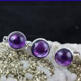 SVP955-Beautiful 3 Pcs Set Of Rings Amethyst Cab Gemstone Wholesale Lot With 925 Sterling Silver