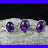 SVP954- 925 Sterling Silver Beautiful 3 Pcs Set Of Rings Amethyst Cab Gemstone Wholesale Lot Made In India