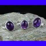 SVP952-Wholesale Lot Amethyst Cab Gemstone Beautiful 3 Pcs Set Of Rings With 925 Sterling Silver