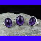 SVP942-Amethyst Cab Gemstone Wholesale Lot 3 Pcs Of Rings With 925 Sterling Silver