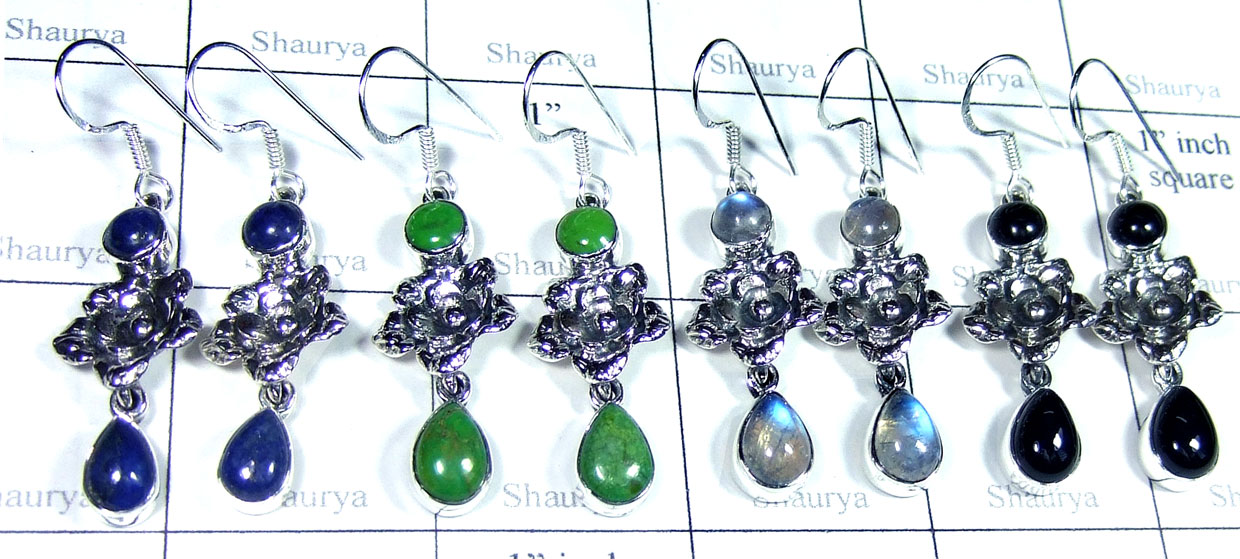 Sterling silver gems Earring-SYE001