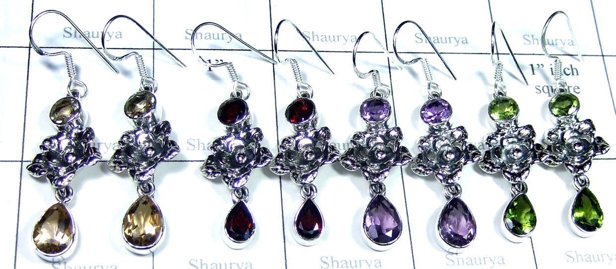 Sterling silver gems Earring-SYE003