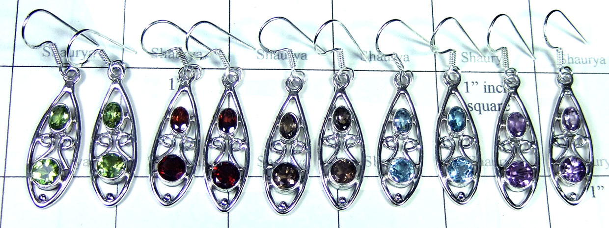 Sterling silver gems Earring-SYE004