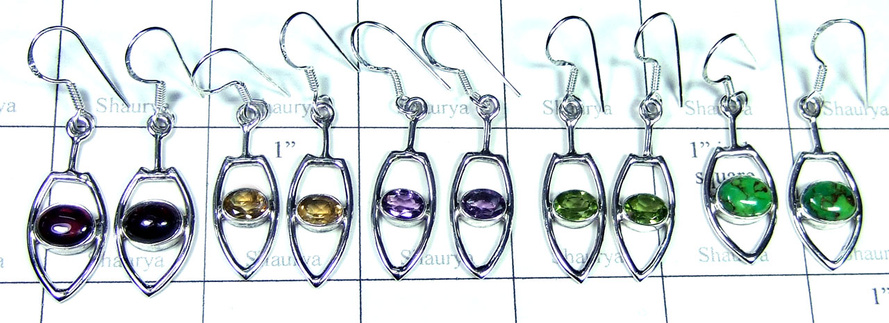 Sterling silver gems Earring-SYE006