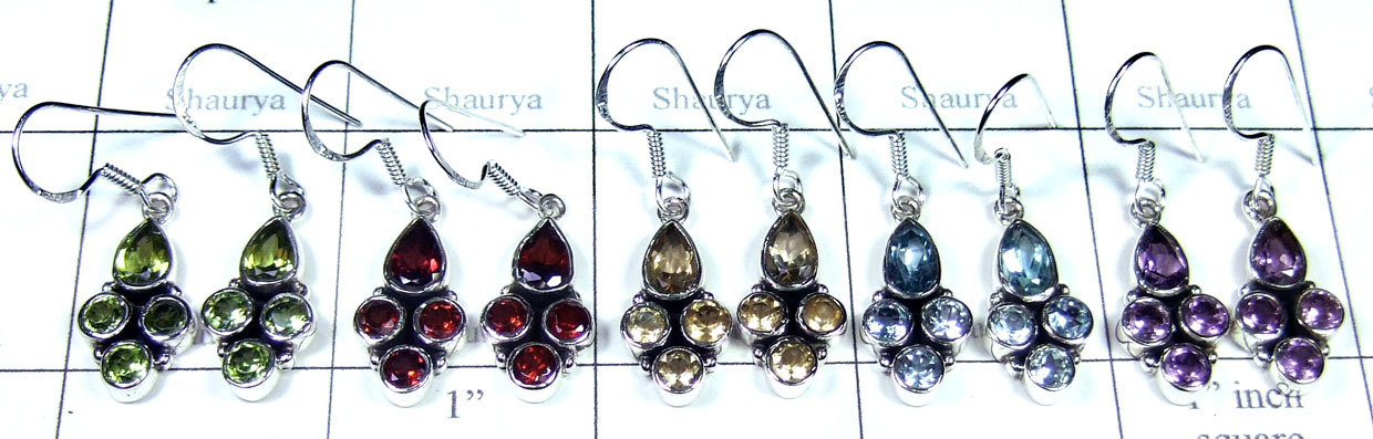 Sterling silver gems Earring-SYE008