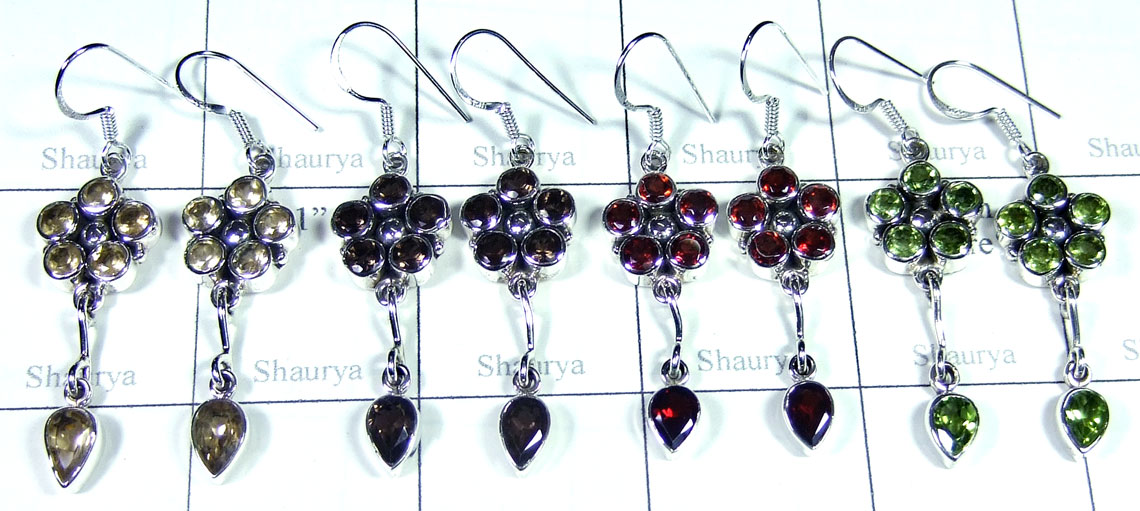 Sterling silver gems Earring-SYE009