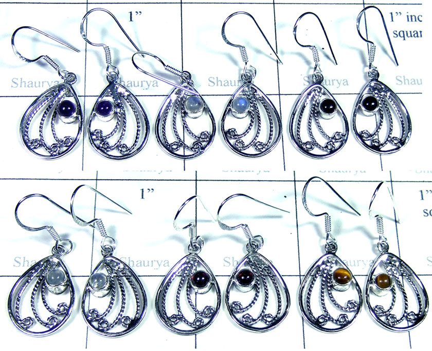 Sterling silver gems Earring-SYE011