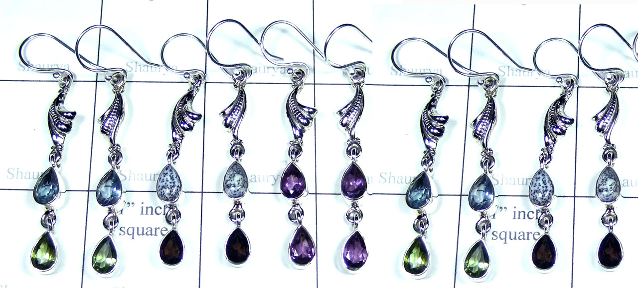 Color gemstone Silver Earrings-SYE012