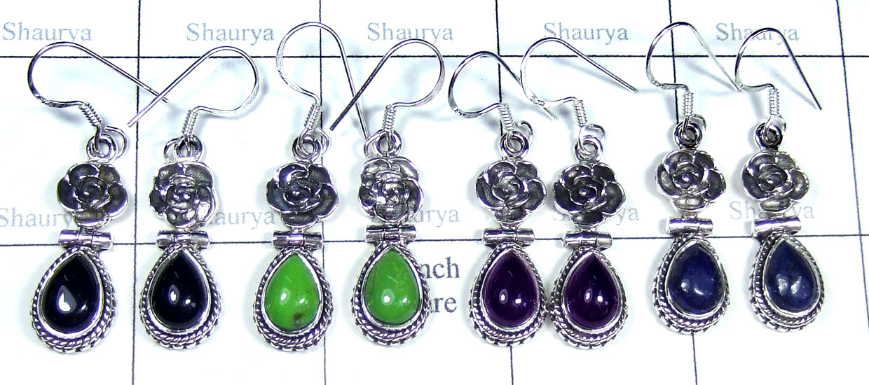 Color gemstone Silver Earrings-SYE013