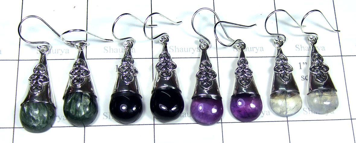 Color gemstone Silver Earrings-SYE014