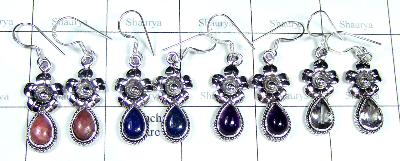 Color gemstone Silver Earrings-SYE015