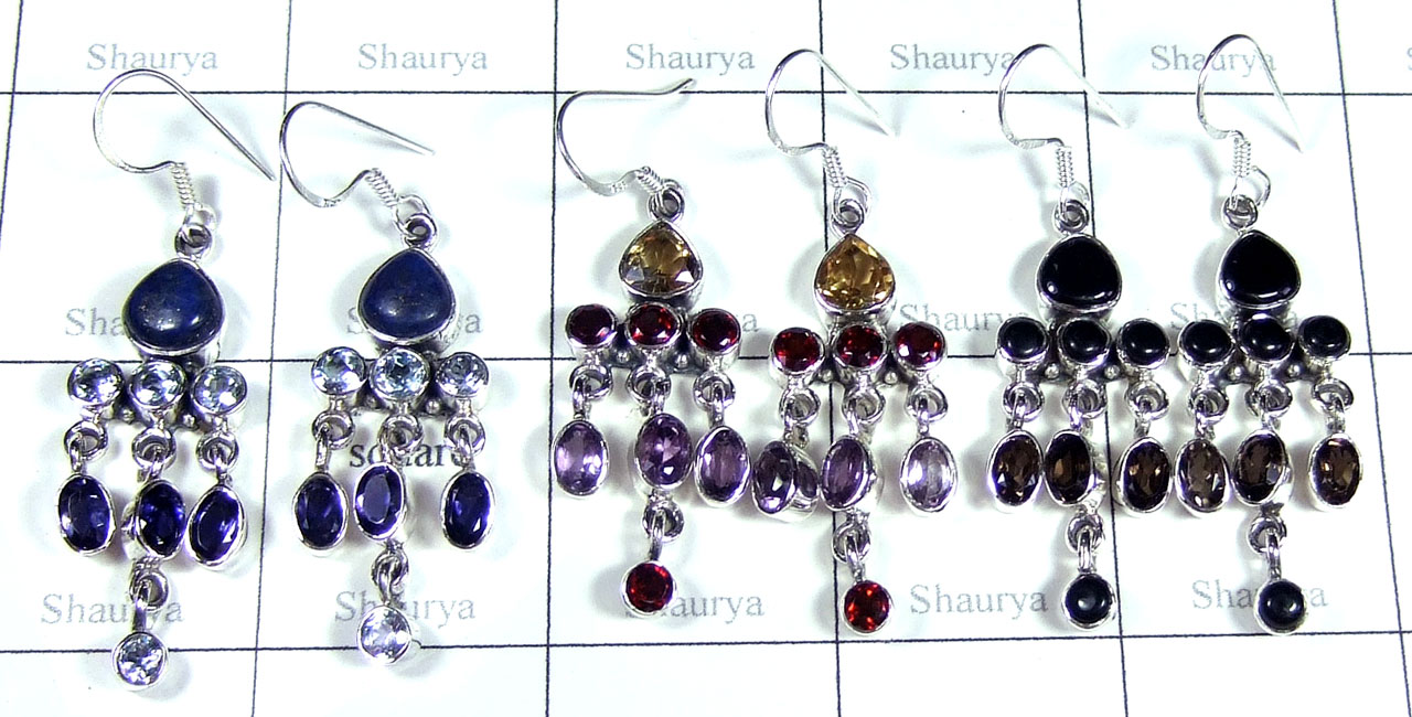 Color gemstone Silver Earrings-SYE016