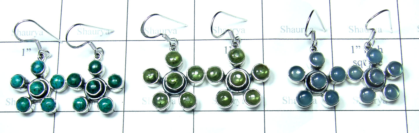Color gemstone Silver Earrings-SYE017