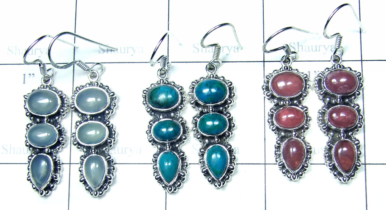 Color gemstone Silver Earrings-SYE018