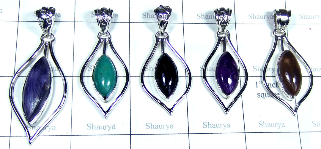 5 Pcs Light weight silver Pendants - SYP008