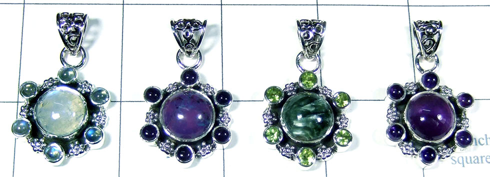 4 Pcs Sterling gems  Pendants - SYP022
