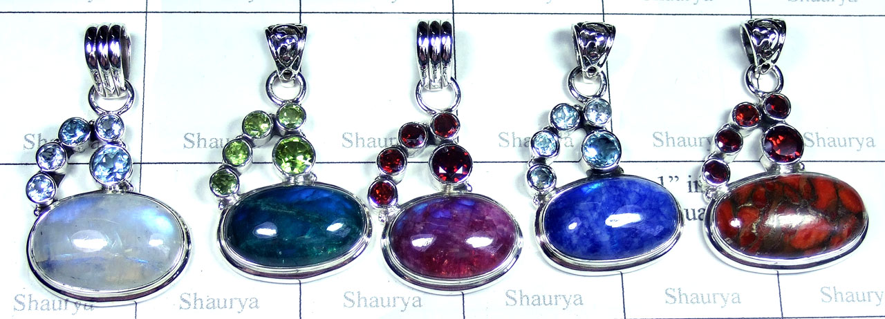 5 Pcs Beautiful gems Pendants - SYP040