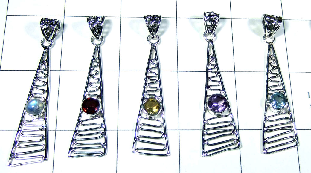 5 Pcs Light weight silver Pendants - SYP093