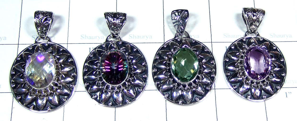 4 Pcs Sterling silver gems Pendants - SYP110