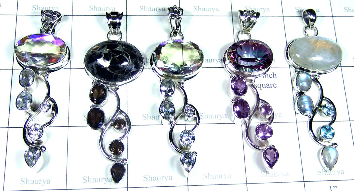 5 Pcs Sterling gems  Pendants - SYP120