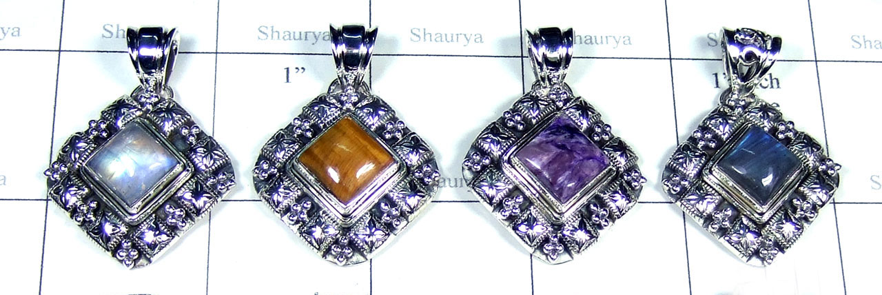 4 Pcs Color gemstone Pendants - SYP126