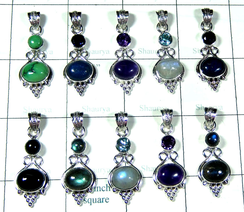 10 Pcs Light weight silver Pendants - SYP127