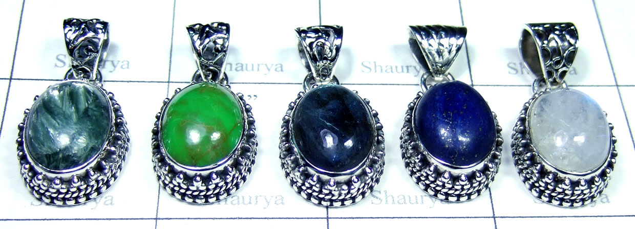 Color gems silver Pendants-SYP143