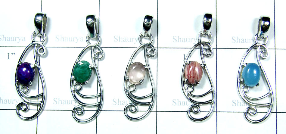 Color gemstone silver Pendants-SYP171