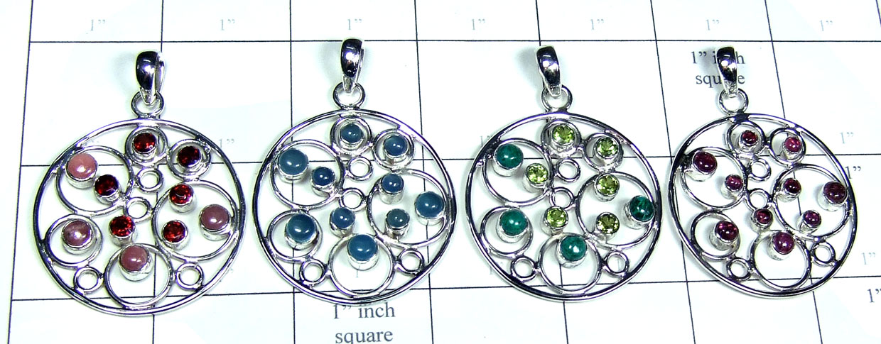 Color gemstone silver Pendants-SYP172
