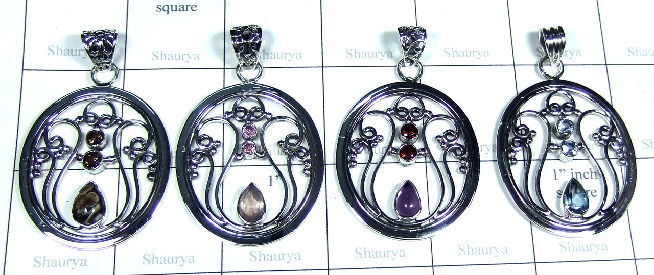 Color gemstone silver Pendants-SYP173