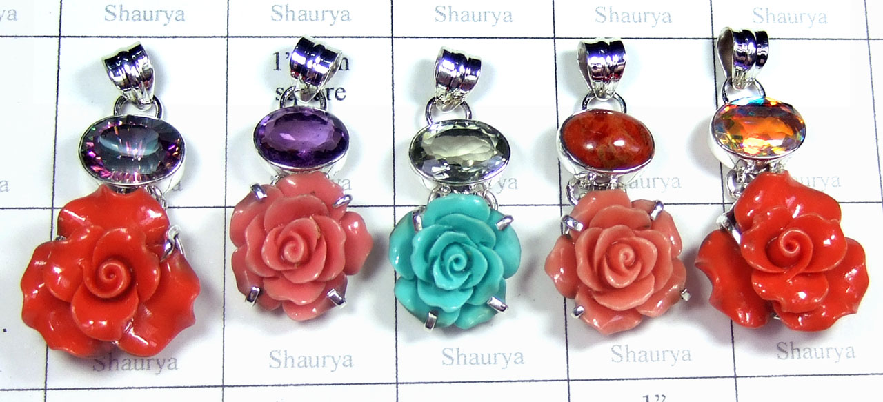 Color gemstone silver Pendants-SYP175