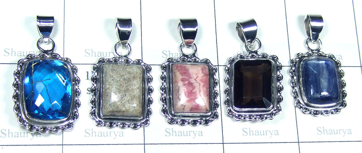 Color gemstone silver Pendants-SYP180
