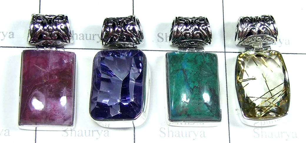 Color gemstone silver Pendants-SYP181