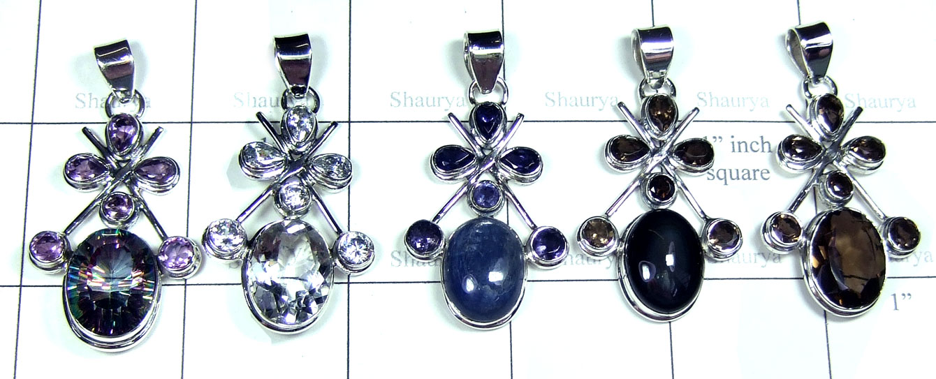 Color gemstone silver Pendants-SYP182