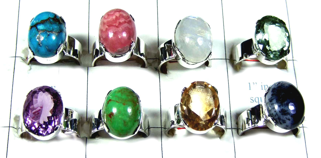 8 Pcs Color gemstone Rings - SYR019