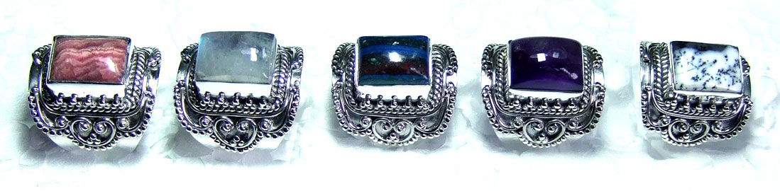 5 Pcs Silver gems Rings - SYR024