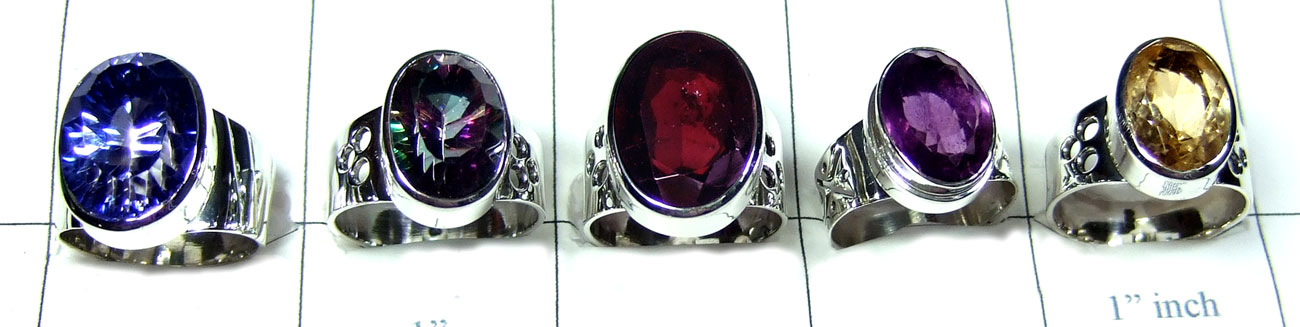 5 Pcs Sterling silver gems Rings - SYR026