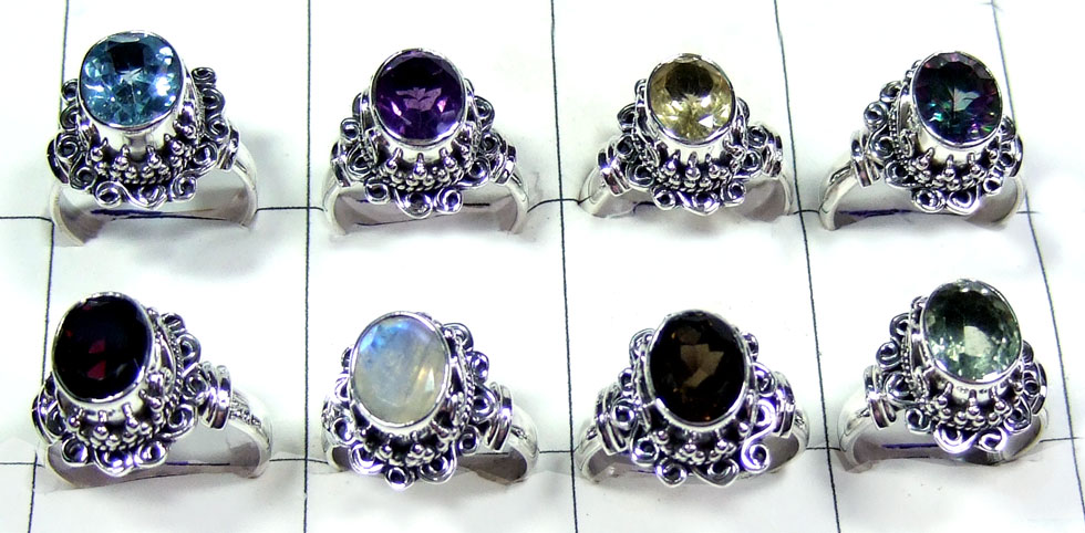 8 Pcs Sterling gems  Rings - SYR034