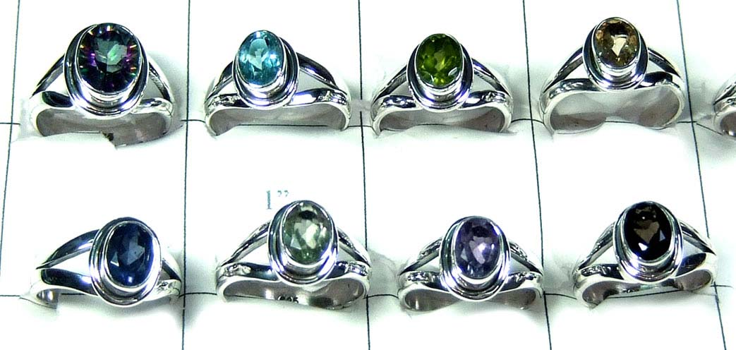 8 Pcs Silver gems Rings - SYR035