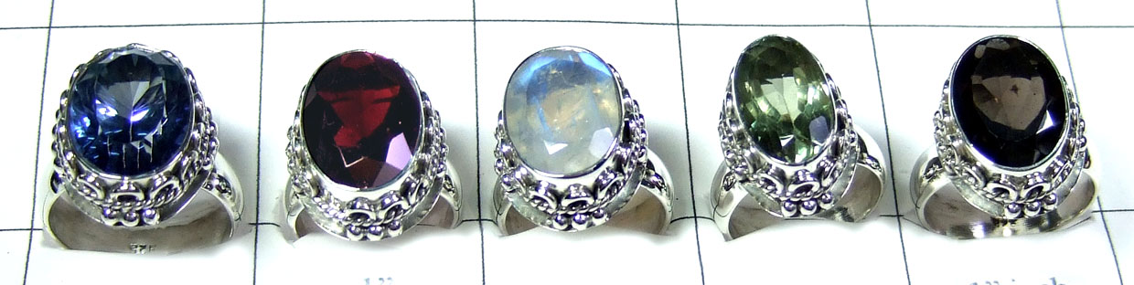 5 Pcs Sterling silver gems Rings - SYR037