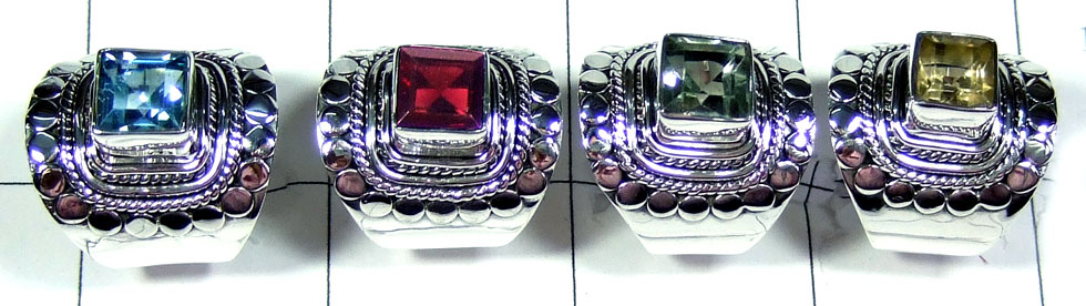 4 Pcs Beautiful silver gems Rings - SYR038