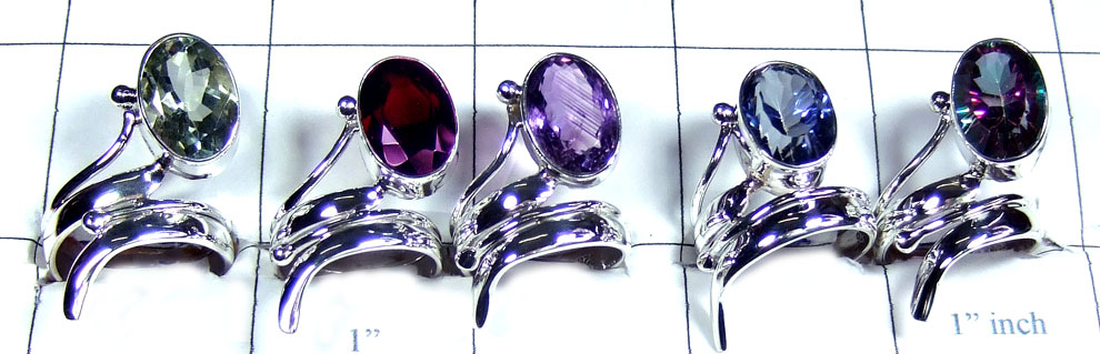 8 Pcs Silver gems Rings - SYR042