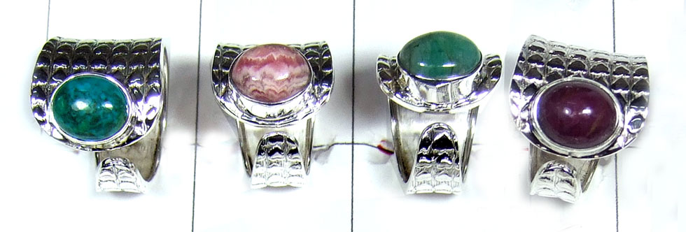Silver Faceted gemstone Rings-SYR045