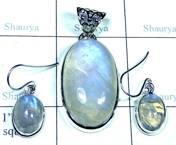 Silver Rainbow Moonstone Set-SYSET005