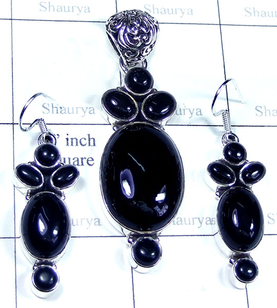Sterling silver Black onyx Set-SYSET012